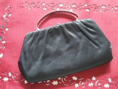 Black Satin Purse with Silver Trim and by GotMilkGlassAndMore, $16.95