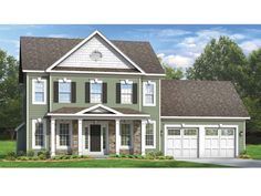 Colonial House Plan with 2104 Square Feet and 4 Bedrooms from Dream Home Source | House Plan Code DHSW075980