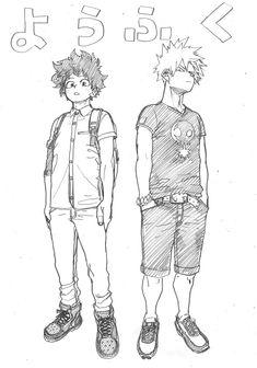 Bakugou Katsuki x Midoriya Izuku / Boku no Hero Academia My Hero Academia Memes, Buko No Hero Academia, Hero Academia Characters, My Hero Academia Manga, Anime Characters, Me Anime, Anime Manga, Cute Sketches, Fan Art