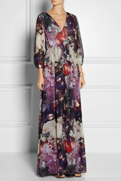 Alice + Olivia   Louisa printed crinkled-chiffon maxi dress