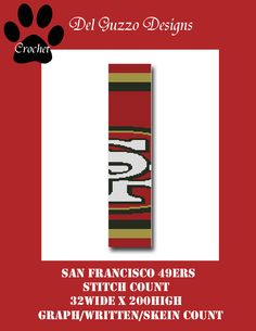 San Francisco 49ers Inspired Scarf Crochet Graph Graphghan Pattern WITH WRITTEN INSTRUCTIONS, skein and stitch count by DelGuzzoDesignStudio on Etsy