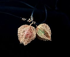 Winter Cherry  Pendant Wire crochet by ZegnaJewelry on Etsy, $45.00/ Wire crochet