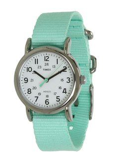 Timex Weekender Seafoam Green Strap Watch