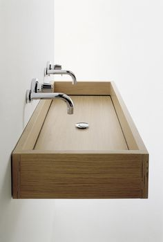 Modern Wooden Sink Designs For Your Bathroom Wooden Bathroom, Bathroom Spa, Bathroom Toilets, Wc Decoration, Wood Sink, Sink Design, Light Oak, Bathroom Interior Design, Beautiful Bathrooms