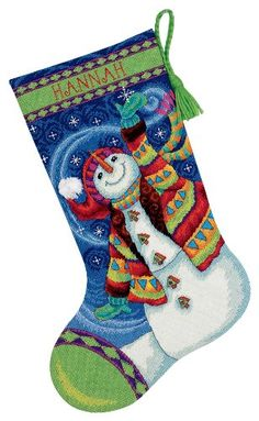 Dimensions Happy Snowman Stocking Needlepoint Long Stitched In - long stitched in wool & thread Unique Christmas Stockings, Cross Stitch Christmas Stockings, Cross Stitch Stocking, Xmas Stockings, Needlepoint Christmas Stocking Kits, Needlepoint Stockings, Needlepoint Kits, Dimensions Cross Stitch, Wool Thread