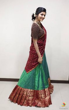 Athulya Ravi in Half Saree Lehenga Saree Design, Half Saree Lehenga, Lehnga Dress, Saree Look, Ghagra Saree, Kids Lehenga, Lehenga Blouse, Anarkali, Half Saree Designs