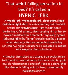 "Actually, I learned that these occur because of the body's relaxed state. The brain freaks out, thinking the sleeper is dying, and jumpstarts the body, causing the sleep jerk. Turns out, the person was trying to fall asleep, so the brain is all, ""Cool, brah, glad we're okay."" and chills back out."