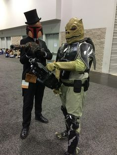 Steampunk Boba Fett, and Empire Strikes Back bounty hunter Bossk.