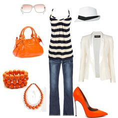 Orange and Blue, created by mindyg1205 on Polyvore