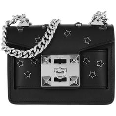 Salar Shoulder Bag - Gaia Cosmo Black - in black - Shoulder Bag for... (1,580 ILS) ❤ liked on Polyvore featuring bags, handbags, shoulder bags, black, shoulder handbags, star purse, flap purse, leather belt and studded handbags