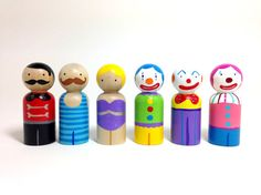 Circus Peg Doll Set Extra Clowns by PeggedByGrace on Etsy