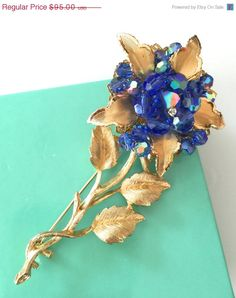 Flower Brooch Large Textured Gold Tone Vitrail by Vintageimagine