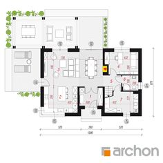 gotowy projekt Dom w silene rzut parteru Pergola, Floor Plans, How To Plan, Dream Homes, Arch, Blue Prints, Longbow, Outdoor Pergola, Dream Houses