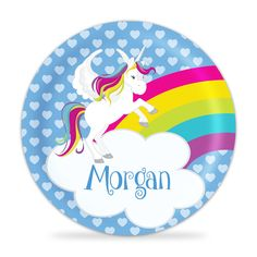 Unicorn Plate - Rainbow Unicorn Melamine Personalized Plate. 1 Personalized Melamine Plate - makes a Great Kids Gift ~ I Design and Customize, You Give the Perfect Gift! ~ These Personalized Plates are a perfect way to spice up every meal time! Your little one will always enjoy seeing their name on their plate. Watch your Child light up, when they see their plate coming! This will become the new go-to for meal time! This is perfect for all ages and makes a great present for any child…