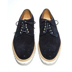 Navy Suede Oxford with White Rubber Sole : Men's Footwear : Footwear