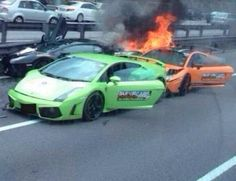 The Heart Wrenching Moment When 'Three' #Lamborghini's Crash and Burn Together! Check out the saddening video footage by hitting the image... #carcrash