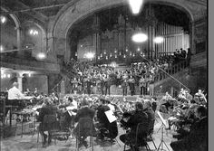 An orchestral recording session at Kingsway Hall in London, England