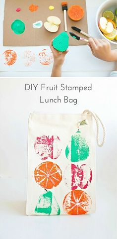 DIY fruit stamps with the kids and make this cute lunch bag! Source by diy Projects For Kids, Diy For Kids, Craft Projects, Crafts For Kids, Creative Crafts, Fun Crafts, Diy And Crafts, Arts And Crafts, Ideias Diy