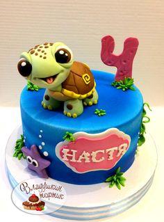 Ocean Birthday Cakes, Baby Birthday Cakes, Turtle Birthday, Lizard Cake, Pusheen Cakes, Dream Cake, Girl Cakes, Cake Tutorial, Love Cake