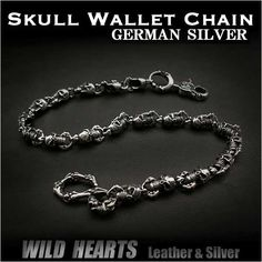 Ultra cool design with dangling chain of skulls & Bones ! Looks excellent with jeans but is adaptable to any fashion style!   Skull&Bones Wallet Chain Key Chain German Silver WILD HEARTS Leather & Silver (Item ID wc2114r6)  http://global.rakuten.com/en/store/auc-wildhearts/item/wc2114r6/