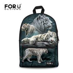 5595eda10048 White Tiger printing Backpack Children School Bags For Teenagers Boys Bag  Kids Backpacks Animal Prints Wolf Dinosaur Mochila Bag
