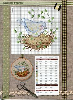 Bird on a nest | Cross Stitch | Pinterest