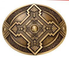 51-2788   Hebilla para cinturón con un mosaico indio   Indian mosaic brass belt buckle