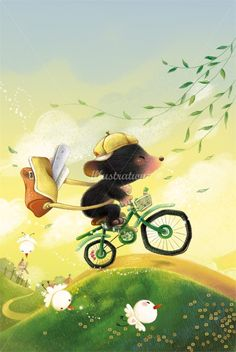 Corinna Ice Illustrator for Children's Books - Mouse riding a bicycle! So cute!