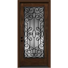 Wrought Iron Clear Caramel Inswing Fiberglass Entry Door (Common: 80-in x 36-in; Actual: 81.75-in x 37.5-in)