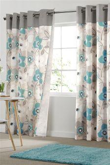 Teal Bold Floral Print Eyelet Curtains