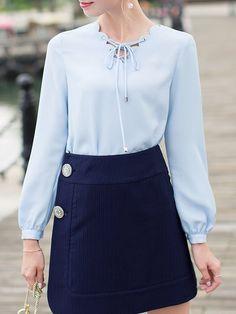 Shop Blouses - Blue V Neck Casual Blouse online. Discover unique designers fashion at StyleWe.com.