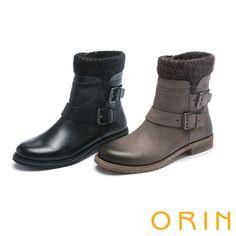 3980時髦流行暖呼呼 特殊雙色蠟染牛皮短靴 -黑色 - 2.7CM