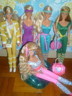 From left: Music Lovin' Barbie Super Dance Barbie Great Shape Barbie Great Shape UK Barbie Barbie And The All Stars 1989 1980s Barbie, Barbie Skipper, Barbie And Ken, Vintage Barbie, Vintage Dolls, Vintage Toys 80s, Nostalgia, Barbie Dream House, Childhood Toys