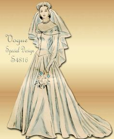 1940s Wedding Dress Pattern Vogue Special Design S 4816 Vintage Bridal Gown And Bridesmaid Gown
