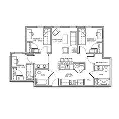 Campus Park Apartments 3 Bedrooms 2 Bathroom Apartment Floor Plans