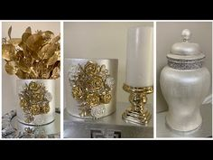 In today's video, I show you how I transformed 3 inexpensive thrift store finds into beautiful glam home decor. Diy Crafts For Home Decor, Diy And Crafts Sewing, Crafts To Sell, Dollar Store Crafts, Dollar Stores, Broken Mirror, Glitter Art, Candy Molds, White Decor