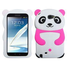 MYBAT Panda 3D Jelly Skin Case for Galaxy Note 2 - Hot Pink