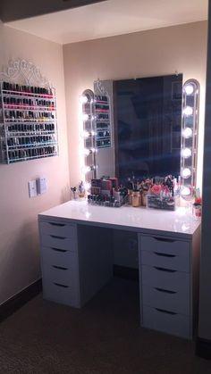 Beautiful Glam room with Alex Drawers with DIY Vanity Mirror   Lights  Nail  polish rackVANITY MIRROR WITH DESK   LIGHTS   Desk light  Vanities and Desks. Desk Vanity Mirror With Lights. Home Design Ideas