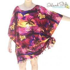 pink sunset poncho ladies kaftan hawaiian print tropical floral resortwear