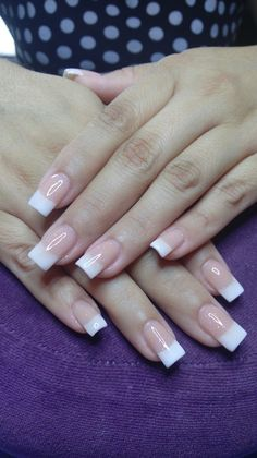 Discover latest Nail Fashion trends, Nails polish inspration, style and other ideas to try. Get updated with all nail design news and latest articles including celebrities, fashion, hot trends and much more! French Nails, French Acrylic Nails, French Manicure Nails, Square Acrylic Nails, Cute Acrylic Nails, Acrylic Nail Designs, Cute Nails, Pretty Nails, Gel Nails