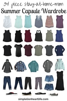 2017 36 piece stay at home mom summer capsule wardrobe. A look inside my minimalist wardrobe.
