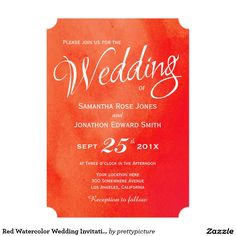 Red Watercolor Wedding Invitation