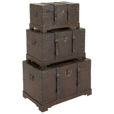 Leather Strapped Wooden Trunks, Set of 3 ($280) ❤ liked on Polyvore featuring home, home decor, small item storage, grey home decor, wooden storage trunk, wooden home decor, wooden trunk and wood home decor