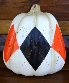Argyle pumpkin. Draw this easy design onto a white pumpkin. Sip some cider and have some fun painting!