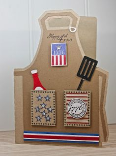 Cute Apron card/favor Waltzingmouse Stamps, USA 1776, Silhouette