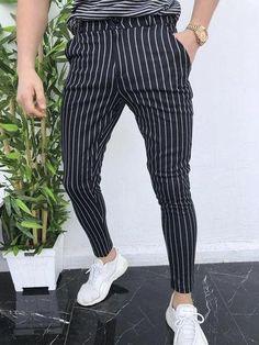 2019 Summer New Casual Pants Plus Size Mens England Retro Dress Pants Formal Stripe Pants Casual Trouser Formal Pants, Casual Pants, Men Casual, Slim Fit Pants, Skinny Pants, Fashion Pants, Mens Fashion, Style Fashion, Fashion Design