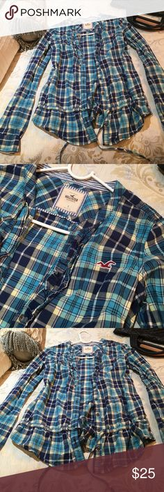 Hollister blue flannel Super cute Hollister flannel that is so gorgeous. There is a tie in the bottom to make it tight around your waist or you can loosen it for a more causal look. Hollister Tops