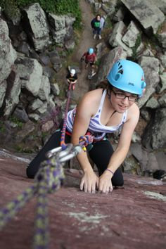 Mary pauses before sticking that last tough move on D'Arcy's Wall (5.8)