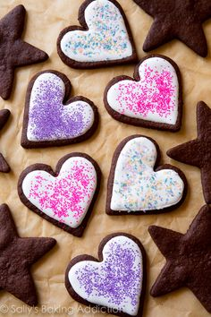 These are the best soft chocolate sugar cookies you will ever make! It's an easy recipe and they are so fun to decorate! Recipe on sallysbakingaddiction.com