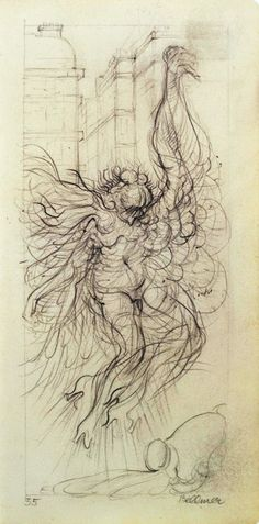 Hans Bellmer (1902-1975)  Study for Voluptuous Angel, drawing 1955